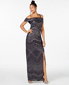 Cold-Shoulder Studded Gown