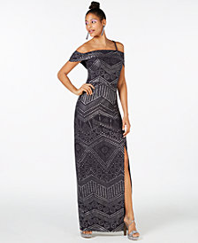 Laundry by Shelli Segal Cold-Shoulder Studded Gown