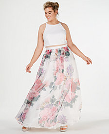 B Darlin Trendy Plus Size Illusion Mesh Printed Gown