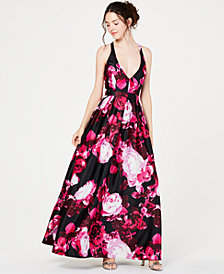 Jump Juniors' Bright-Floral Halter-Neck Gown