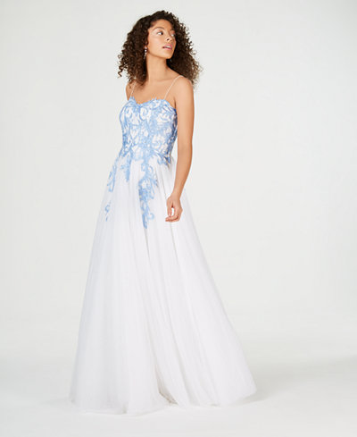 Say Yes to the Prom Juniors' Rhinestone-Appliqué Ballgown, Created for Macy's