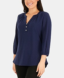 NY Collection Petite Eyelet Top