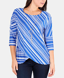 NY Collection Petite Striped Necklace Top