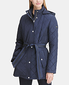 DKNY Belted Waterproof Quilted Coat, Created for Macy's