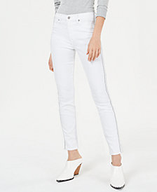 7 For All Mankind Sparkle Stripe Ankle Skinny Jeans