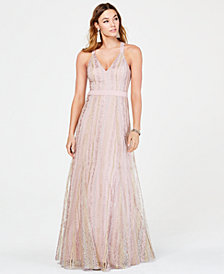 Trixxi Juniors' Floral-Embroidered Tulle Gown