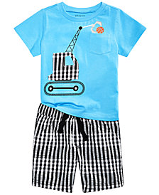 First Impressions Baby Boys Basketball-Print T-Shirt & Gingham Plaid Shorts, Created for Macy's