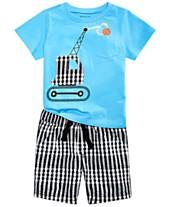 b91065bbe First Impressions Baby Boys Basketball-Print T-Shirt   Gingham Plaid  Shorts