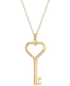 "Key Heart 18"" Pendant Necklace in 14k Gold"