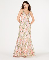 4e8eb91089e0 Sequin Hearts Juniors' Embroidered-Floral Gown