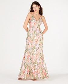 Sequin Hearts Juniors' Embroidered-Floral Gown