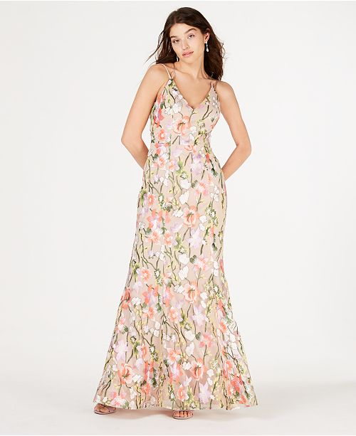 ab97368c5 Sequin Hearts Juniors' Embroidered-Floral Gown; Sequin Hearts Juniors'  Embroidered-Floral ...