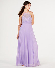 B Darlin Juniors' Beaded-Top Pleat-Skirt Gown, Created for Macy's