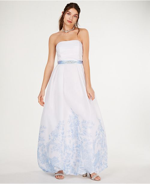 073803436df Teeze Me Juniors  Strapless Floral-Hem Gown   Reviews - Dresses ...