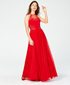 Blondie Nites Juniors' Appliqué Floral Halter Gown