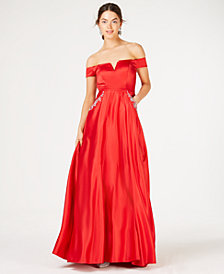 Say Yes to the Prom  Juniors' Off-The Shoulder Rhinestone Gown, Created for Macy's