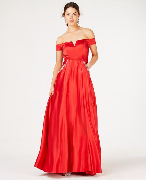 21fb47fbc6b Say Yes to the Prom Juniors  Off-The Shoulder Rhinestone Gown ...