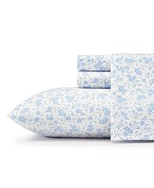 Laura Ashley Core Helena Lt/Pastel Blue Full Flannel Sheet Set