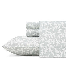 Laura Ashley Core Crestwood Lt-Pastel Grey Full Flannel Sheet Set