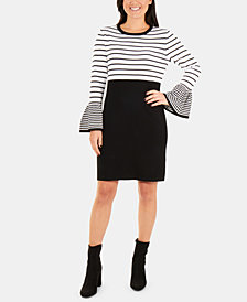 NY Collection Bell-Sleeve Colorblocked Sweater Dress
