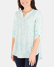 NY Collection Petite Paisley-Print Pleated Utility Shirt