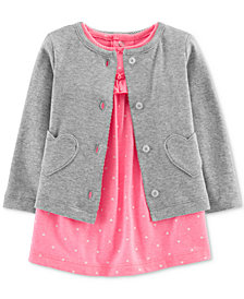 Carter's Baby Girls 2-Pc. Bodysuit Dress & Cardigan Set