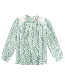 Monteau Big Girls Printed Lace-Trim Top
