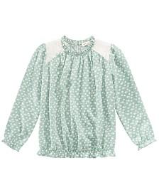 Monteau Big Girls Printed Lace-Trim Top