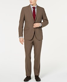 Kenneth Cole Reaction Men's Techni-Cole Slim-Fit Stretch Brown Suit