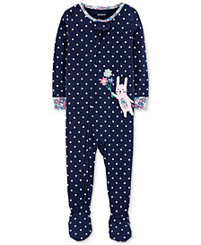 Carter's Baby Girls Bunny Rabbit Cotton Footed Pajamas