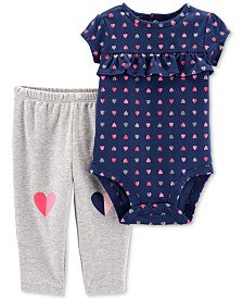 Carter's Baby Girls 2-Pc. Cotton Heart-Print Bodysuit & Pants Set