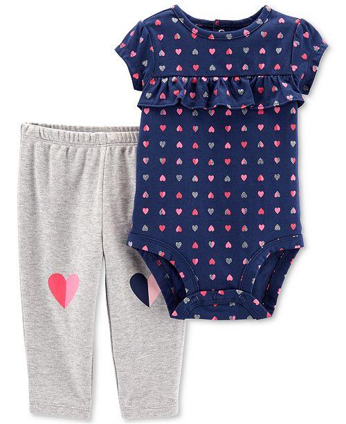 Carter's Baby Girls 2-Pc. Cotton Heart-Print Bodysuit & Pants Set