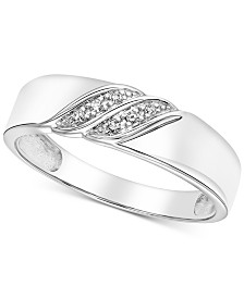 Men's Diamond Accent Wedding Band in White Gold