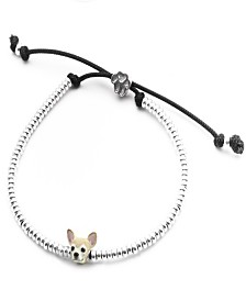 Chihuahua Head Bracelet in Sterling Silver and Enamel