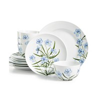 Deals on Martha Stewart Collection Floral 12-Pc. Dinnerware Set Service for 4
