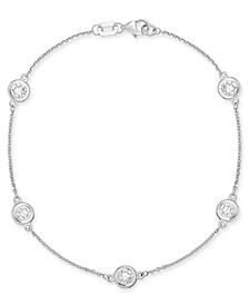 Diamond Bezel Link Bracelet (1 ct. t.w.) in 14k White Gold