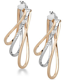Two-Tone Layered Hoop Earrings in 14k Gold & White Gold