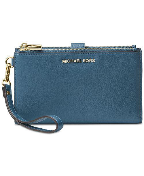 ... Michael Kors Adele Double-Zip Pebble Leather Phone Wristlet ... 1bd30d5c42fcc