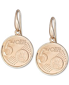 Euro-Look Coin Drop Earrings in 18k Gold-Plated Sterling Silver