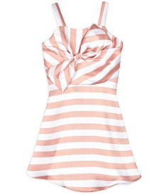BCX Big Girls Bow Dress Striped Pink