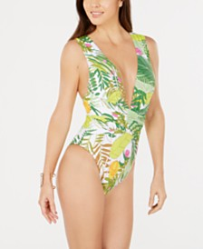 Trina Turk It's Bananas Printed Plunging One-Piece Swimsuit