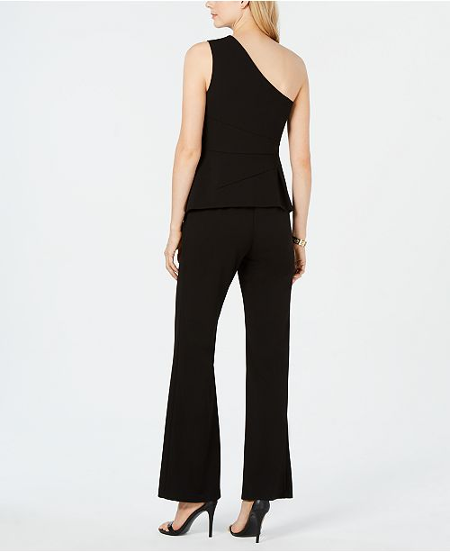 ae1840448819 Adrianna Papell One-Shoulder Peplum Jumpsuit   Reviews - Pants ...