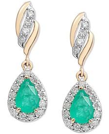 Emerald (3/4 ct. t.w.) & Diamond (1/3 ct. t.w.) Drop Earrings in 14k Gold