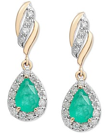Emerald (3/4 ct. t.w.) & Diamond (1/3 ct. t.w.) Drop Earrings in 14k Gold