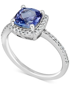 Tanzanite (1-1/2 ct. t.w.) & Diamond (1/4 ct. t.w.) Ring in 14k White Gold