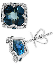 EFFY® London Blue Topaz (8-1/5 ct. t.w.) & Diamond (1/3 ct. t.w.) Stud Earrings in 14k White Gold