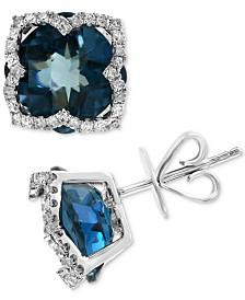 EFFY® London Blue Topaz (8-1/5 ct. t.w.) & Diamond (1/3 ct. t.w.) Stud Earrings in 14k White Gold