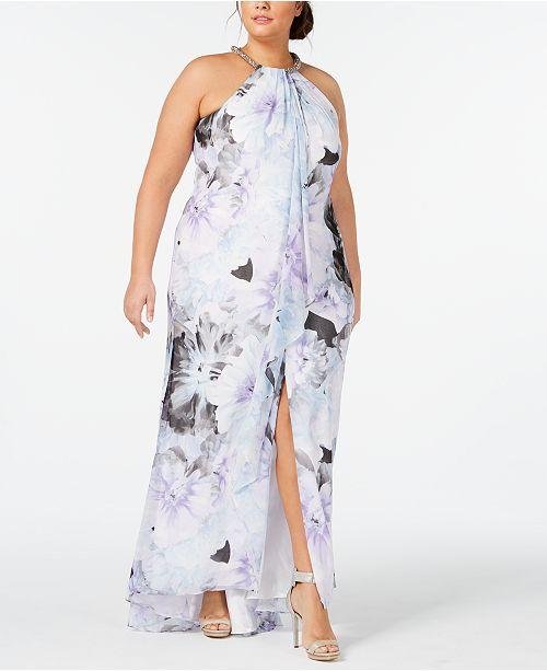 Calvin Klein Plus Size Ruffled Halter Gown