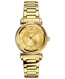 Women's Swiss V-Motif Vintage Logo Gold Ion-Plated Stainless Steel Bracelet Watch 35mm