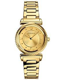Women's Swiss V-Motif Vintage Logo Gold Ion-Plated Stainless Steel Bracelet Watch 35mm